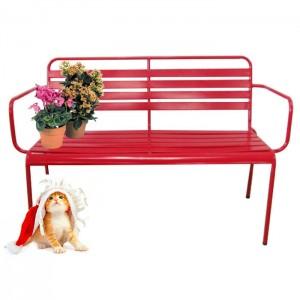 Artistic iron garden bench in red