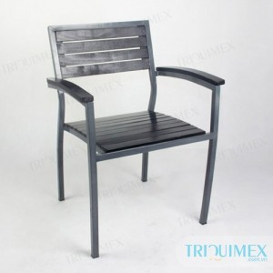 iron chair paneled wood