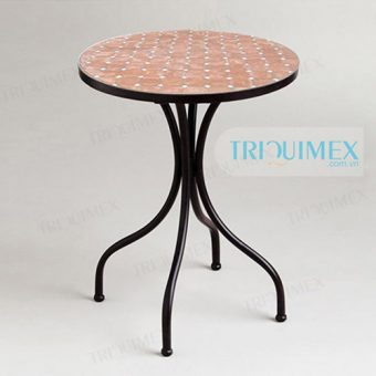 Round Mosaic Table with artistic iron frame base