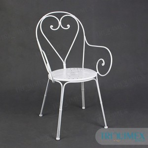 wrought iron chair with iron seat and aesthetic patterns