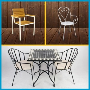 beautiful wrought iron table and chair