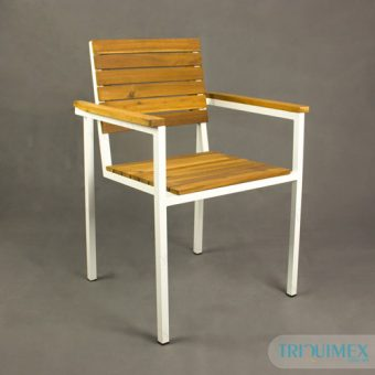 Iron chair paneled wooden bars with armrests