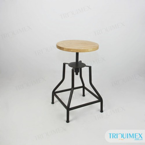 Pedestal iron stool with round wooden seat