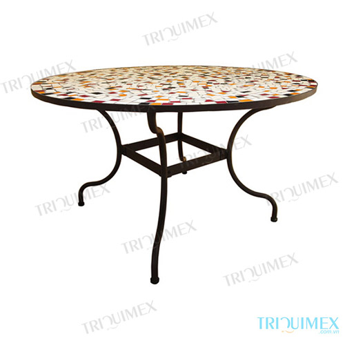 Mosaic Round Dining Table With Wrought Iron Base