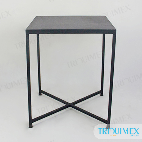 Square stone coffee table with iron base