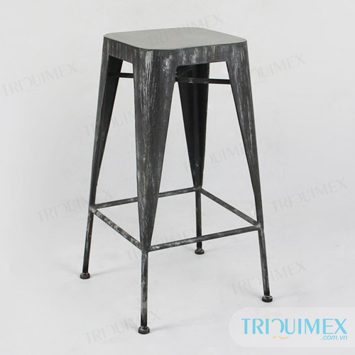 Wrought iron bar Tolix stool with lightweight concrete seat