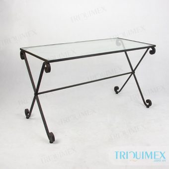 Wrought iron rectangular dining table with tempered glass table top