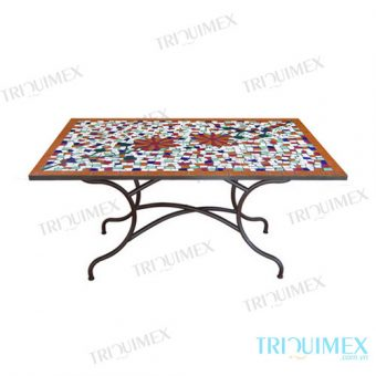 Rectangular mosaic table