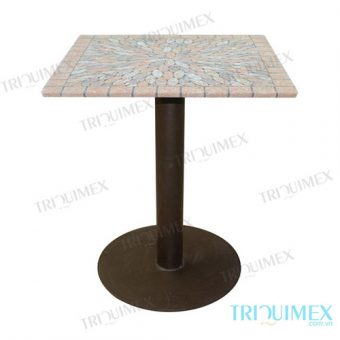 Wrought iron square table with terra cotta top