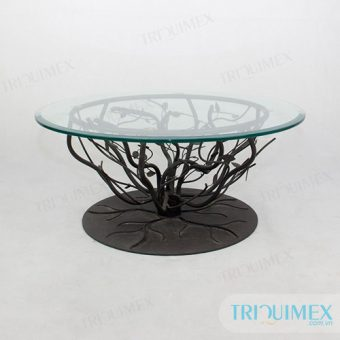 wrought iron table with tempered glass round top