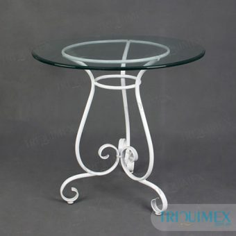 Wrought iron round table with tempered glass table top